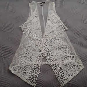 Tops - WHITE SHEER LACE OPEN VEST
